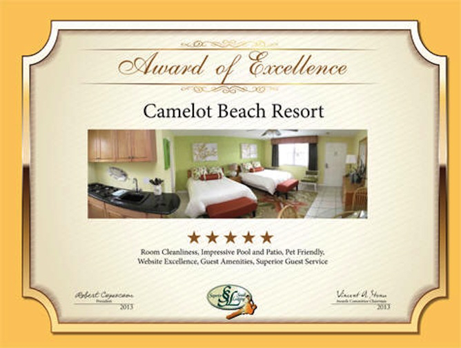Camelot Beach Suites Awards Excellence Award 2013 2